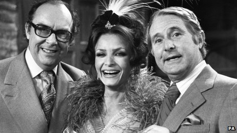"Ernie Wise and Eric Morecambe with Kate O""Mara"
