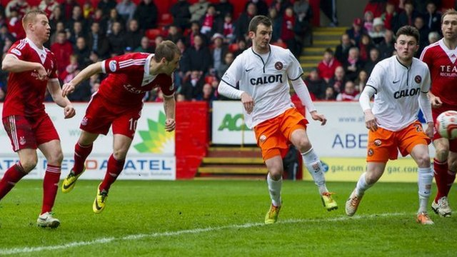 Niall McGinn equalises for Aberdeen against Dundee United