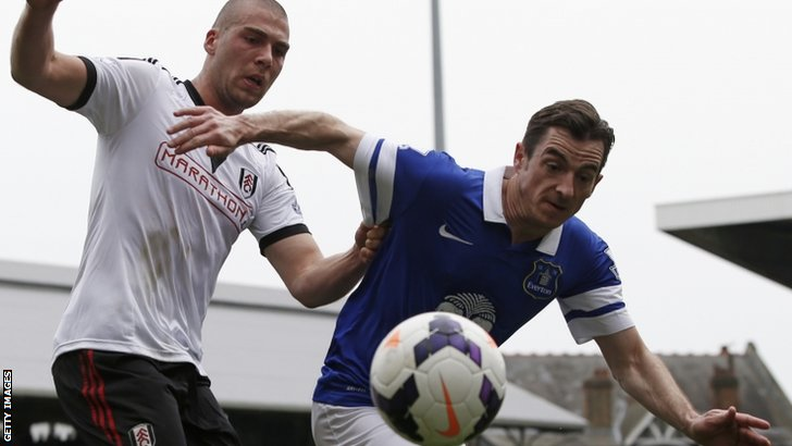 Fulham's Pajtim Kasami (left) and Everton's Leighton Baines
