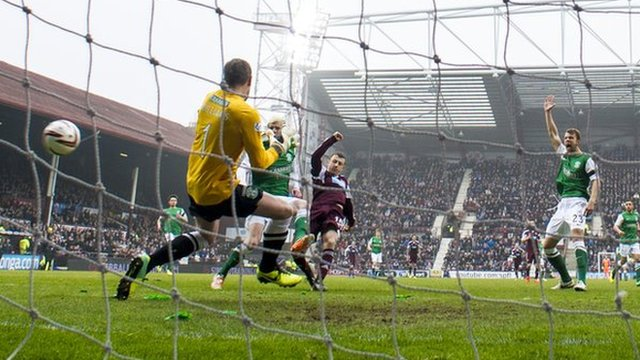 Dale Carrick scores for Hearts against Hibernian