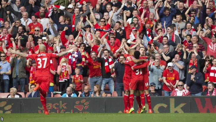 Liverpool celebrate scoring at Anfield