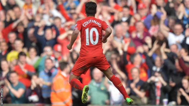 Phillipe Countinho celebrates scoring for Liverpool