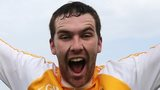 Antrim goal-scorer Conor Carson celebrates after the final whistle in Ballycastle