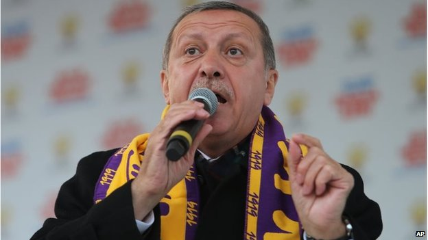 Turkish Prime Minister Recep Tayyip Erdogan addresses his supporters in Istanbul, Turkey, on Saturday