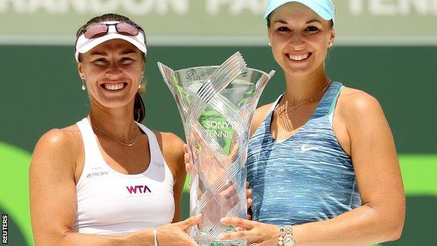 Martina Hingis of Switzerland and Sabine Lisiki of Germany