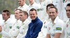 Glamorgan's head coach Toby Radford is conspicuous in his blue kit amid his white-clad players during the club's pre-season photo-shoot at the Swalec Stadium