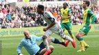 Swansea double their lead when Jonathan de Guzman nips the ball past Canaries goalkeeper John Ruddy for his second