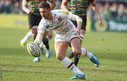 Leicester fly-half Owen Williams gathers against Northampton