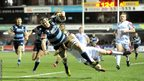Robin Copeland beats Andrew Trimble's tackle to score