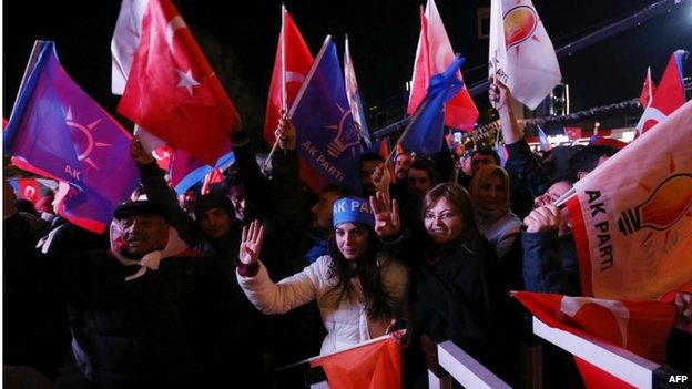 Supporters of Turkey's ruling AKP cheer and wave flags outside the party's headquarters in Ankara