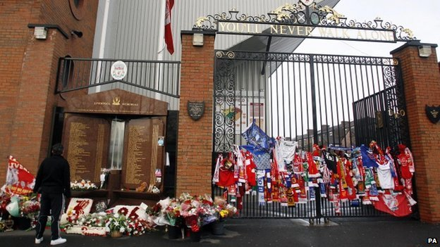 Hillsborough memorial and Shankly Gates, Anfield Stadium