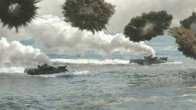 Amphibious landing drill