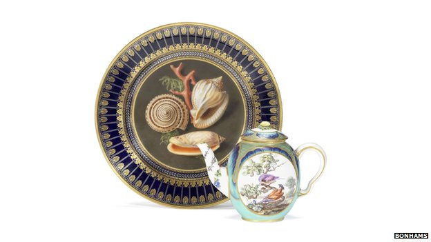 Sevres plate and teapot