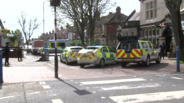 Police cars at High Street Eastleigh
