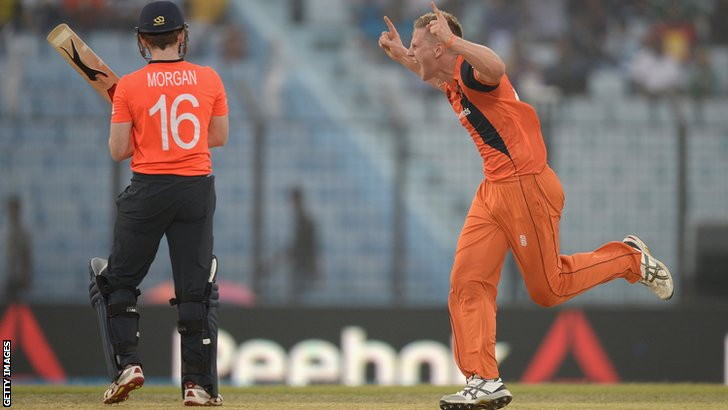 Eoin Morgan and Tim van der Gugten