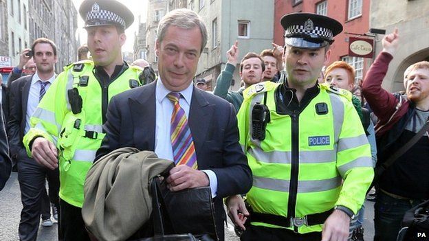 Nigel Farage faces protests in Edinburgh