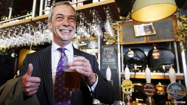 Nigel Farage toasts UKIP's success in the 2013 local elections