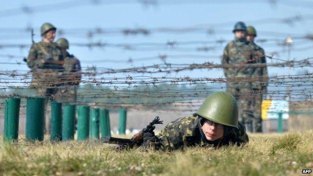 Members of Ukraine's National Guard undergo training (31 March 2014)