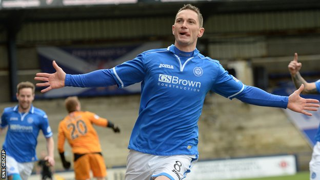 Gary MacDonald celebrates a goal for St Johnstone