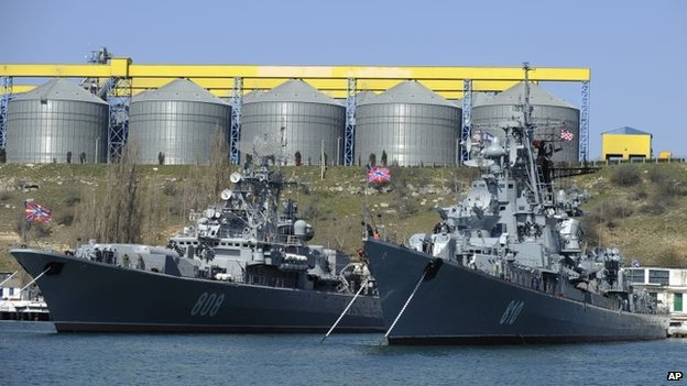 Russian Black Sea Fleet vessels anchored off Sevastopol, Crimea (31 March 2014)