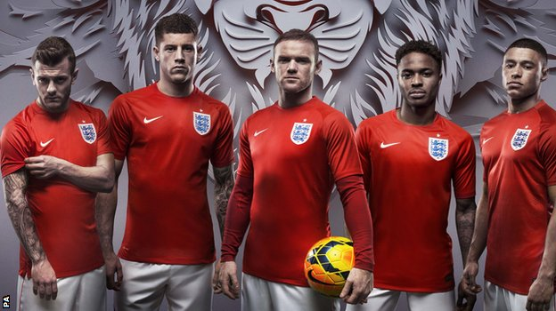 England players wearing the new kit for the 2014 World Cup