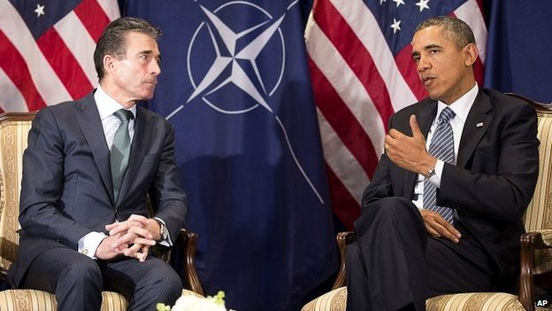 US President Obama and Nato Secretary General Anders Fogh Rasmussen - 26 March 2014