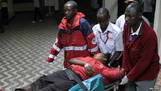 A wounded victim arrives at Kenyatta National Hospital in Nairobi (31 March)