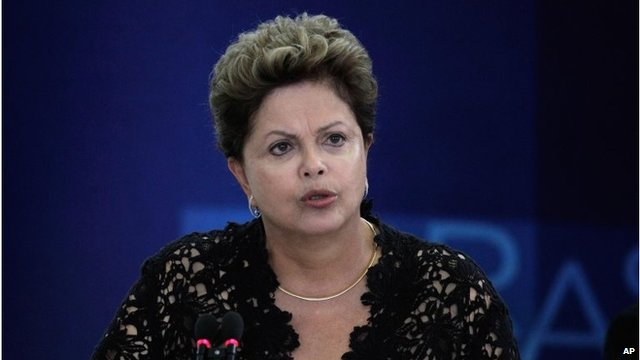 Brazil's President Dilma Rousseff speaks during a ceremony in Brasilia, March 17, 2014