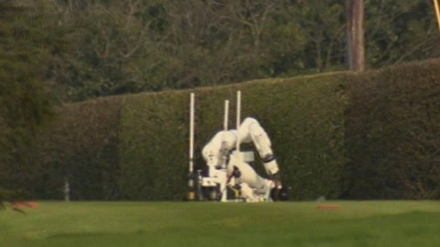Bomb disposal robot on golf course
