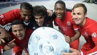 Bayern Munich celebrate winning Bundesliga
