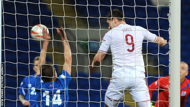 Sam Vokes scores for Wales during their 3-1 win over Iceland