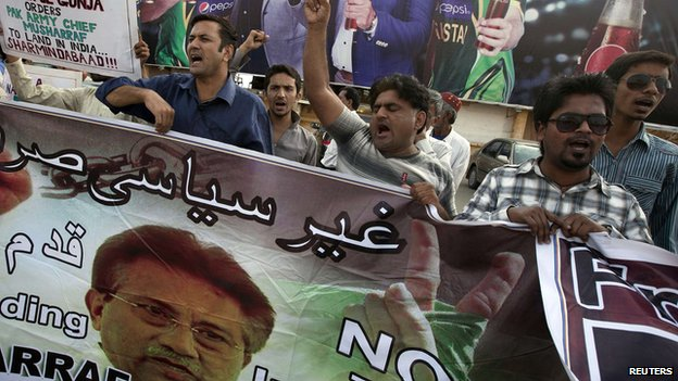 Supporters of former President Pervez Musharraf, head of the All Pakistan Muslim League (APML) political party, chant slogans during a protest demanding a fair trial for him in Karachi March 30, 2014.
