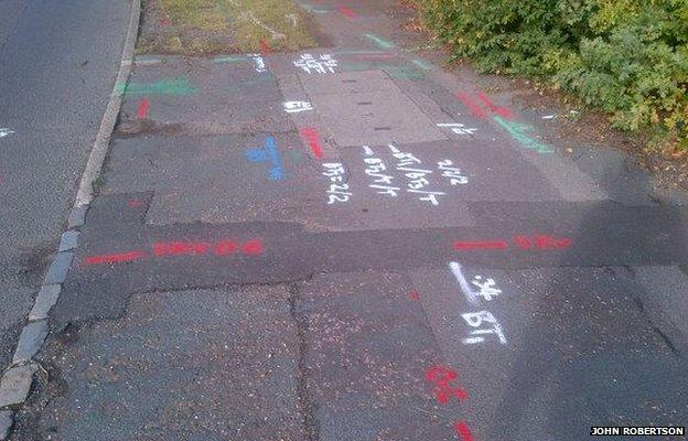 markings on a pavement