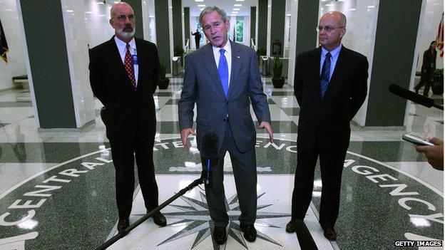 Former US President George W Bush at CIA HQ 14/08/2008