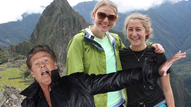 Picture of hikers at Machu Picchu and David Hasselhoff