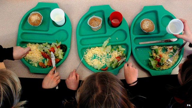 Children eating a school meal