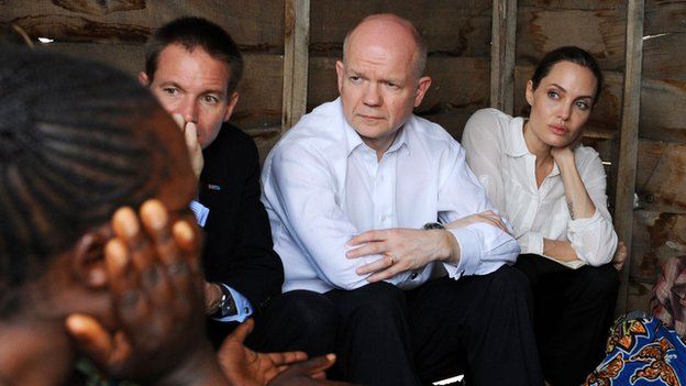 Hague and Jolie with refugees in DR Congo