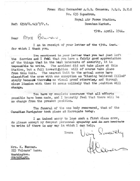 Letter to Kathleen Bannan in 1944