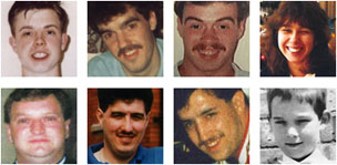Eight of the Hillsborough victims, CW from top left: Paul Clark, Stephen Copoc, Tracey Cox, Jon-Paul Gilhooley, Steven Fox, Vincent Fitzsimmons, Christopher Edwards