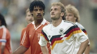 Frank Rijkaard spits at Rudi Voeller as the pair are sent off during the 1990 World Cup