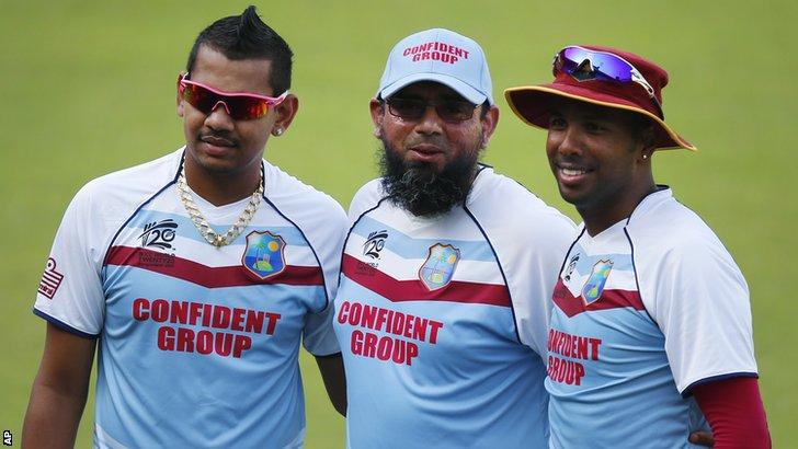 Sunil Narine, Saqlain Mushtaq and Samuel Badree
