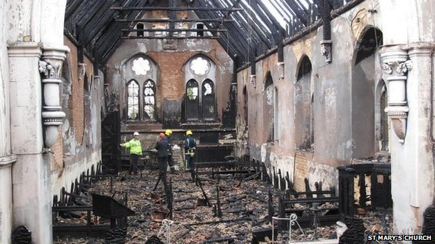 St Mary's Church interior after fire