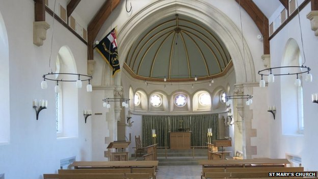 St Mary's Church interior after rebuild