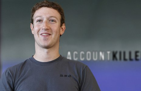 Mark Zuckerberg in front of an Account Killer sign