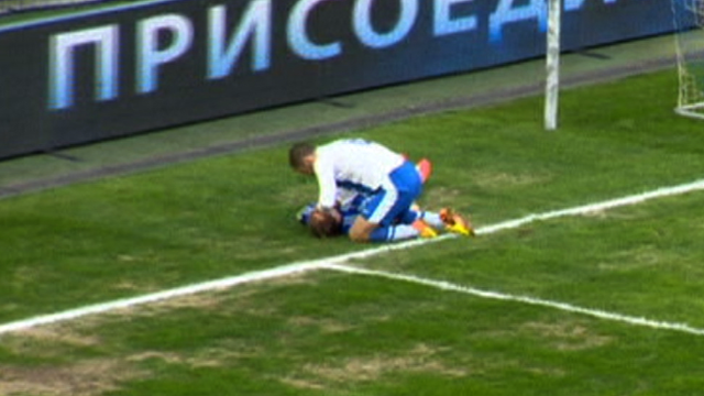 FC Dnipro's Jaba Kankava saves the life of Dynamo Kyiv's Oleg Gusev in a Ukrainian Premier League match.
