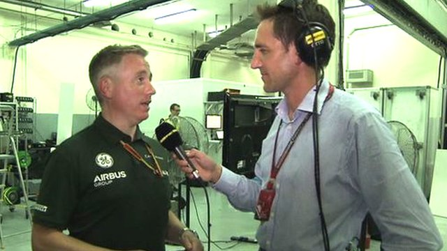BBC F1 pit lane reporter Tom Clarkson goes behind the scenes in the Caterham garage