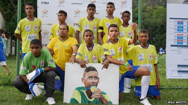 The Brazilian team at the Street Child World Cup in Rio on 30 March 2014