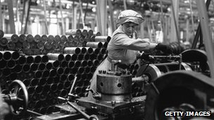A woman working in a munitions factory