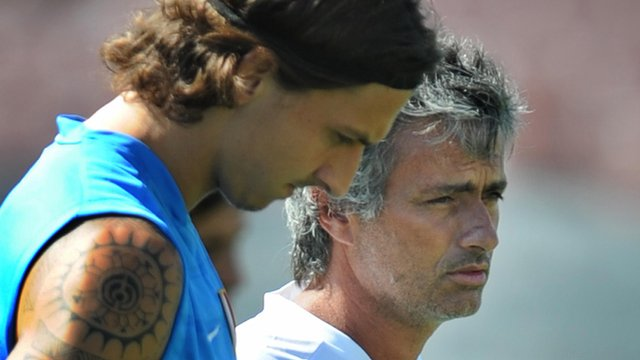 Paris St-Germain forward Zlatan Ibrahimovic and Chelsea manager Jose Mourinho