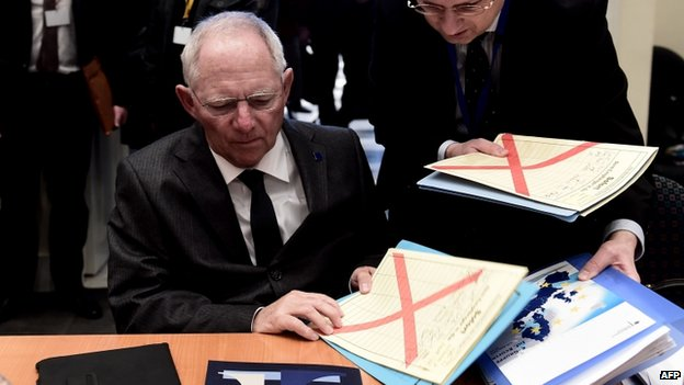 German Finance Minister Wolfgang Schaeuble in Athens, 1 Apr 14